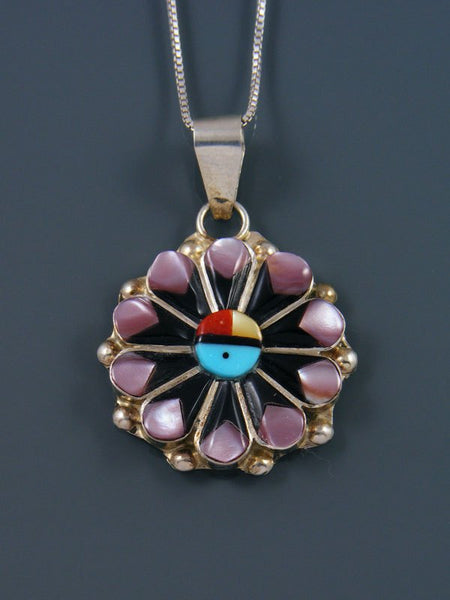 Native American Zuni Inlay Sunface Pendant