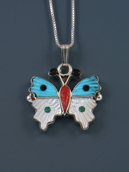 Native American Zuni Inlay Mother of Pearl and Turquoise Butterfly Pendant
