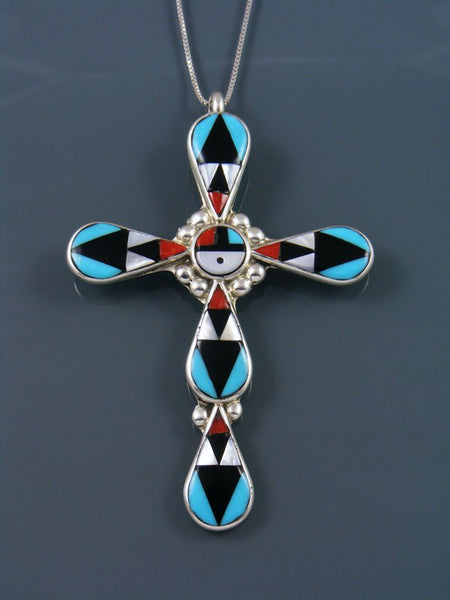 Sterling Silver Zuni Inlay Mother of Pearl Cross Sunface Pendant