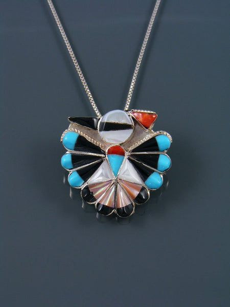 Mother of Pearl Sterling Silver Zuni Thunderbird Pin/Pendant