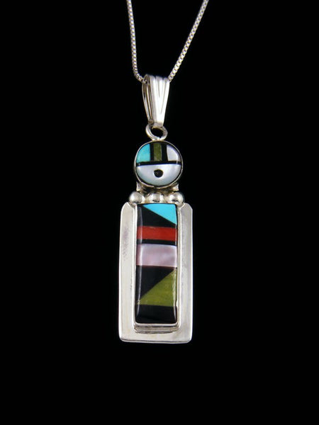 Turquoise and Coral Sterling Silver Zuni Inlay Sunface Pendant