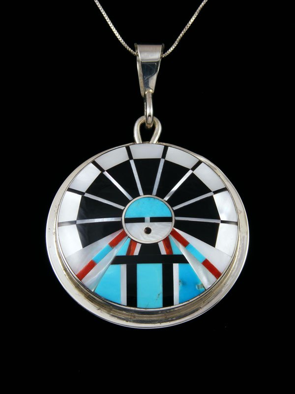 Turquoise Sterling Silver Zuni Sunface Pendant