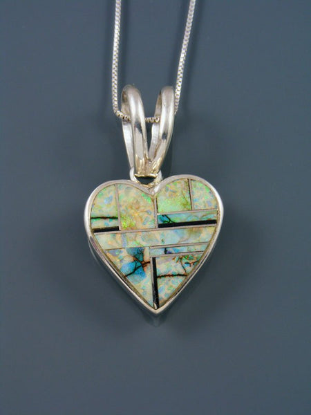 Navajo Inlay Sterling Silver Monarch Opal Heart Pendant