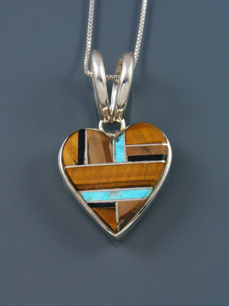 Navajo Inlay Sterling Silver Tiger Eye Heart Pendant