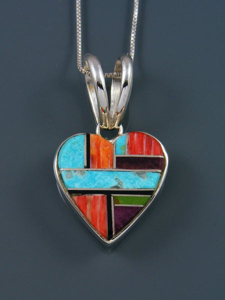 Navajo Inlay Sterling Silver Spiny Oyster Heart Pendant