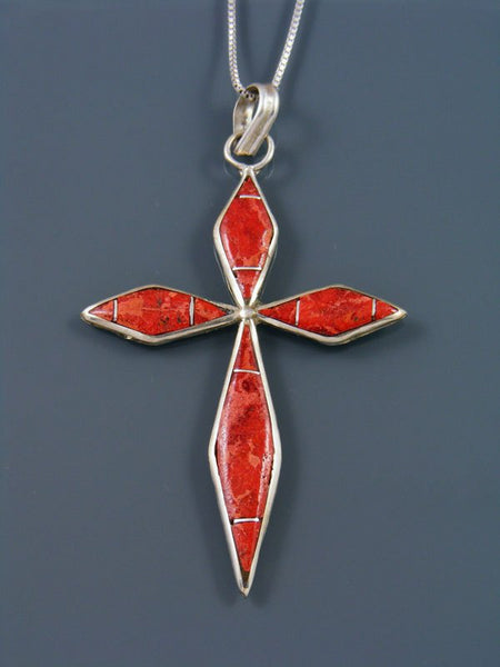 Sterling Silver Zuni Apple Coral Inlay Cross Pendant Necklace