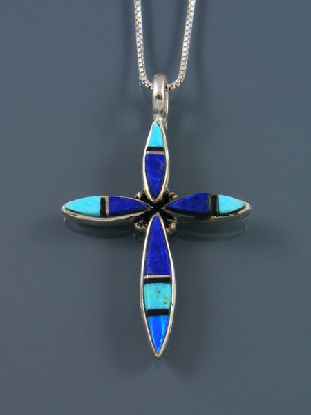 Sterling Silver Navajo Lapis and Turquoise Cross Inlay Pendant