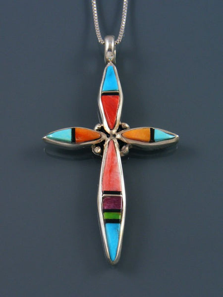 Sterling Silver Navajo Spiny Oyster Cross Inlay Pendant