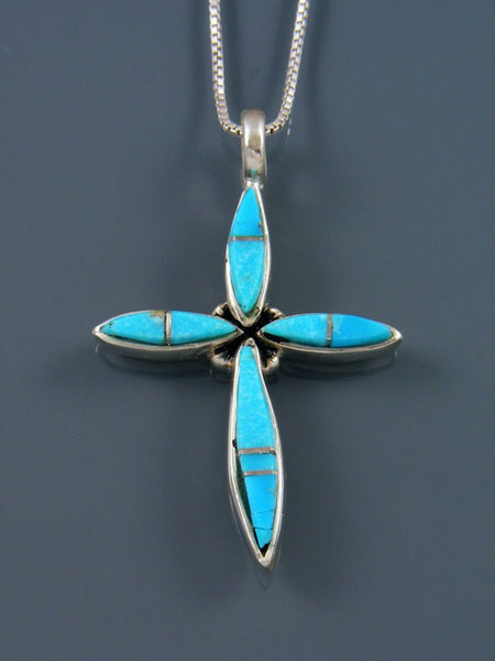 Sterling Silver Navajo Turquoise Cross Inlay Pendant