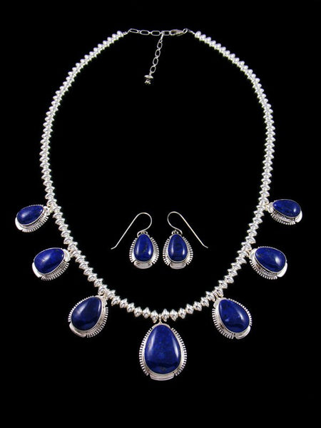 Lapis Sterling Silver Tear Drop Necklace Set