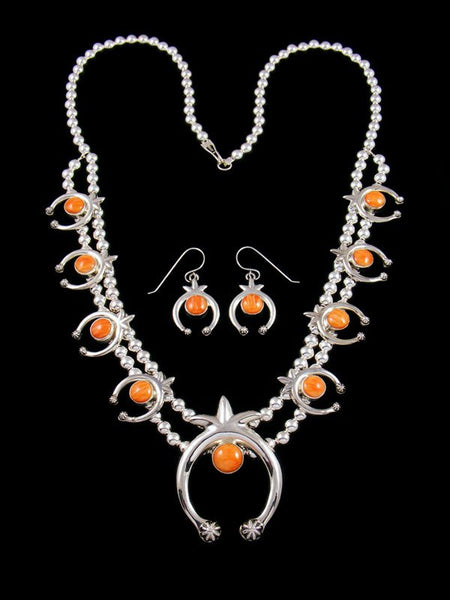 Native American Spiny Oyster Squash Blossom Necklace and Earrings Set