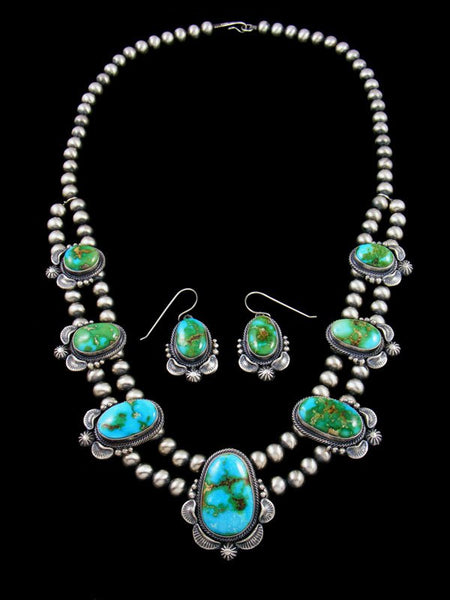 Native American Sonoran Gold Turquoise Necklace and Earring Set