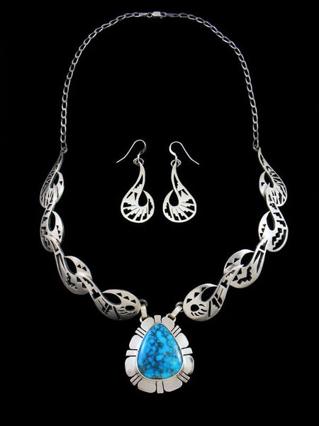 Kingman Handcut Sterling Silver Necklace and Earring Set