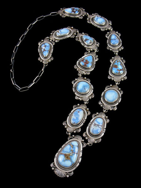 Native American Golden Hill Turquoise Necklace and Earrings Set