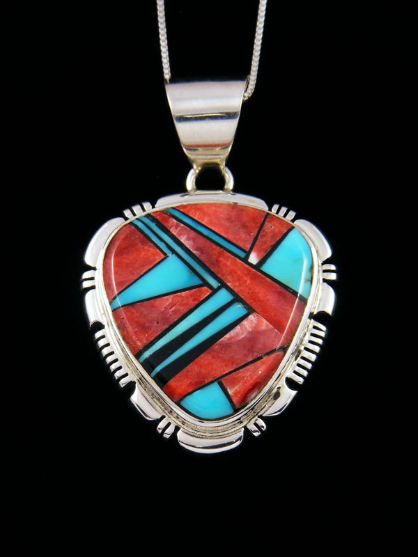 Navajo Inlay Sterling Silver Pendant