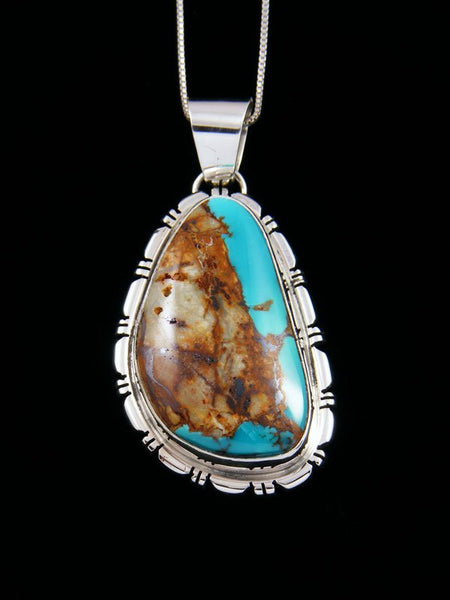 Boulder Turquoise Navajo Sterling Silver Pendant