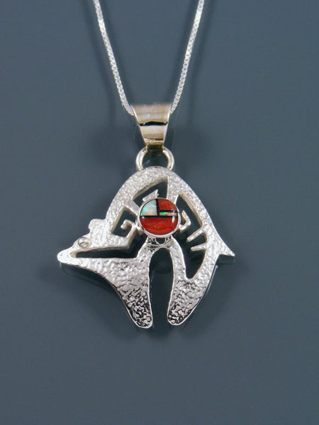 Navajo Inlay Sterling Silver Bear Pendant