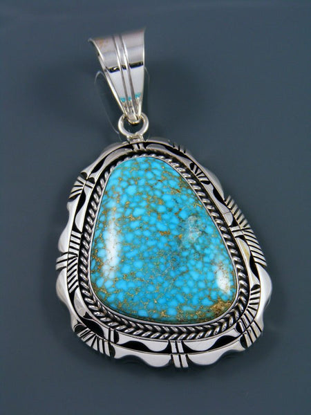 Native American Indian Jewelry Natural Kingman Redweb Turquoise Pendant