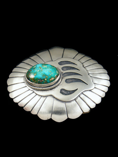 Sterling Silver Native American Bear Paw Turquoise Belt Buckle