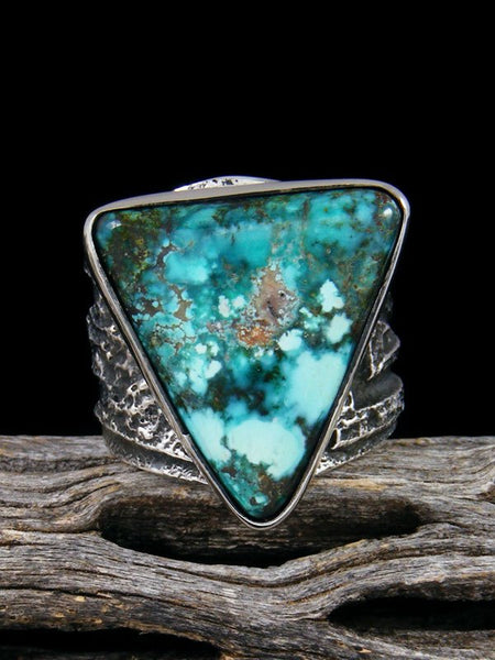 Navajo Tufa Cast Natural Sierra Nevada Turquoise Ring Size 8 1/2