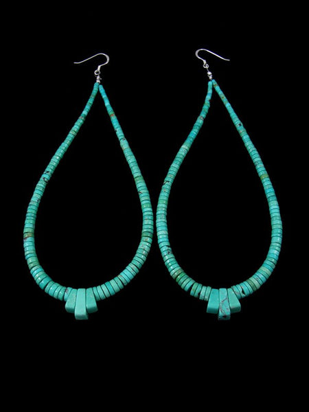 Extra Long Navajo Kingman Turquoise Beaded Dangle Earrings