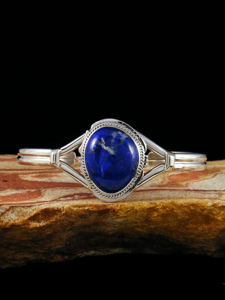 Native American Lapis Sterling Silver Cuff Bracelet