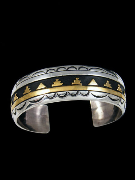 Navajo Sterling Silver and Gold Overlay Cuff Bracelet
