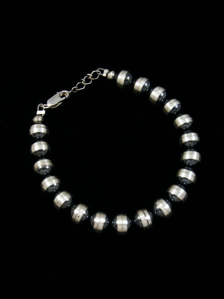 Native American Indian Jewelry Silver Bead Bracelet