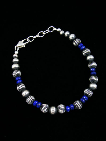 Native American Sterling Silver Lapis Bead Bracelet