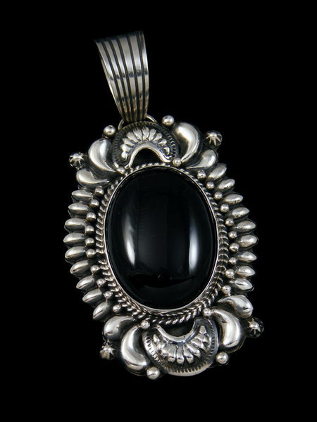 Large Native American Indian Black Onyx Pendant