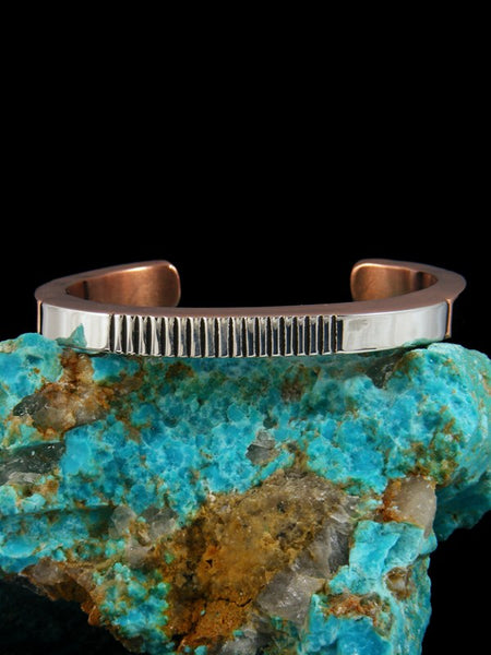 Native American Indian Jewelry Copper and Sterling Silver Cuff Bracelet