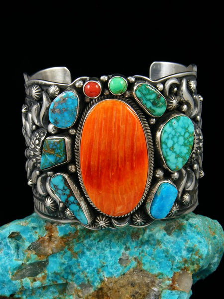Navajo Sterling Silver Spiny Oyster and Turquoise Picasso Cuff Bracelet
