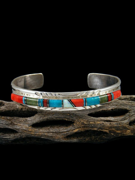 Native American Sterling Silver Turquoise and Spiny Oyster Inlay Cuff Bracelet