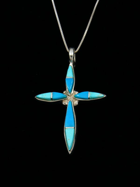 Navajo Necklace Inlay Turquoise Cross Pendant