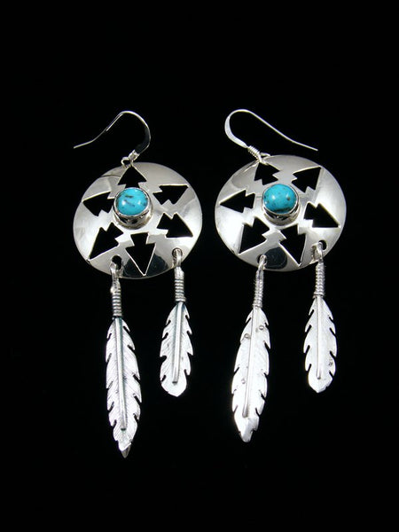 Turquoise Basket Feather Dangle Earrings