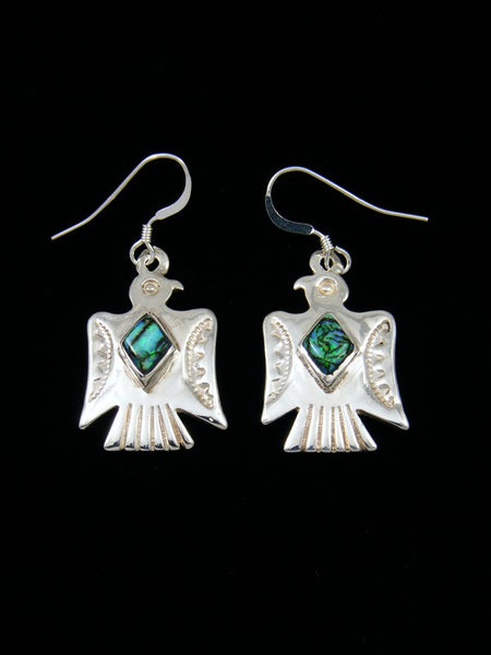 Monarch Opal Inlay Eagle Sterling Silver Dangle Earrings