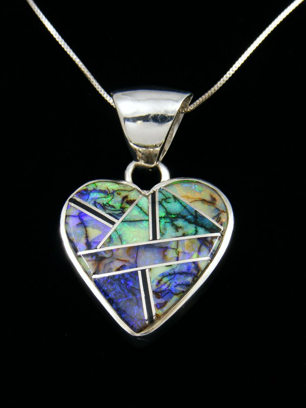 Native American Monarch Opal Inlay Heart Pendant