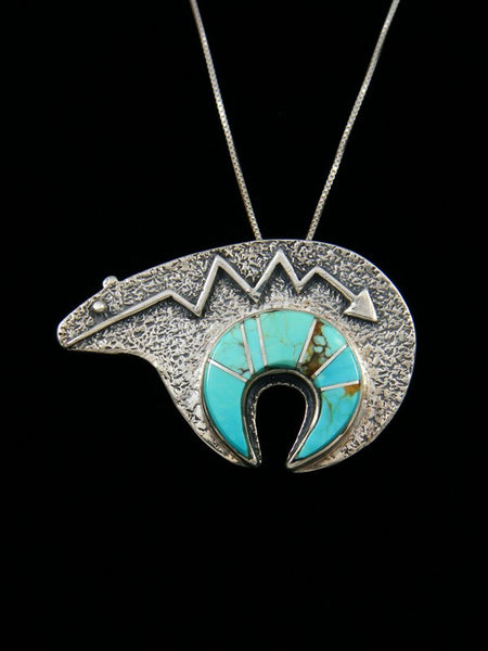 Turquoise Inlay Navajo Bear Pin/Pendant
