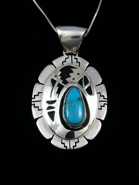 Turquoise Shadowbox Sterling Silver Pendant