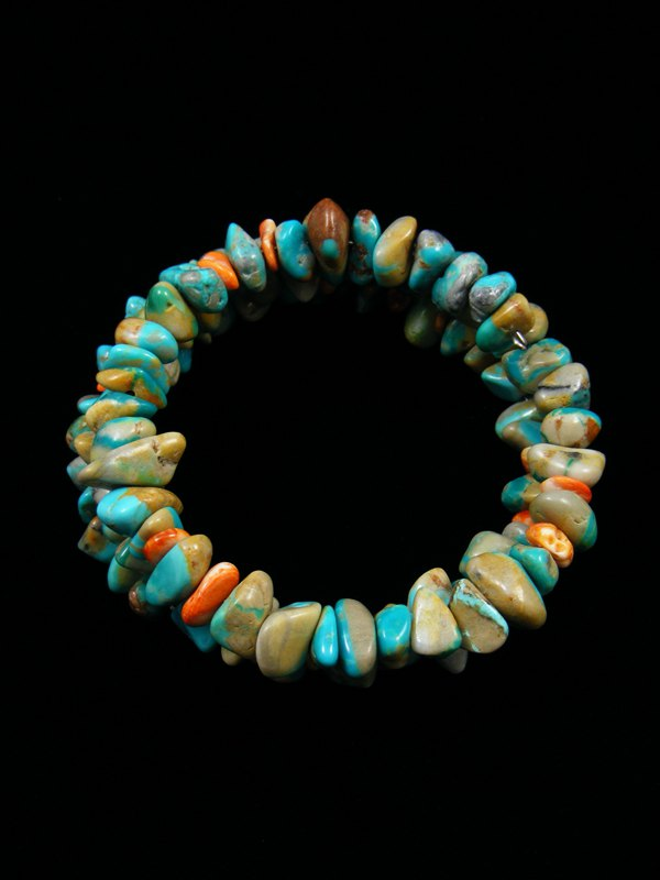Native American Turquoise and Spiny Oyster Wrap Bracelet