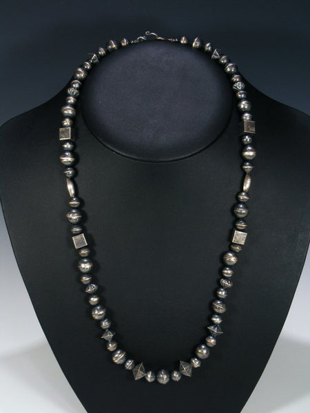 Navajo Jewelry Single Strand Sterling Silver Bead Necklace