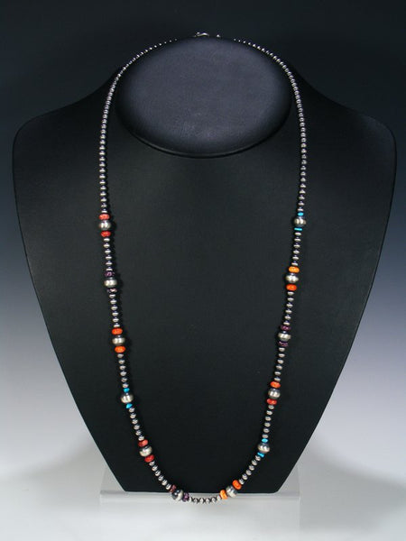 Native American Sterling Silver Spiny Oyster and Turquoise Necklace