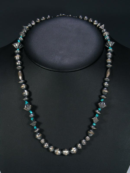 Navajo Jewelry Single Strand Sterling Silver and Turquoise Necklace