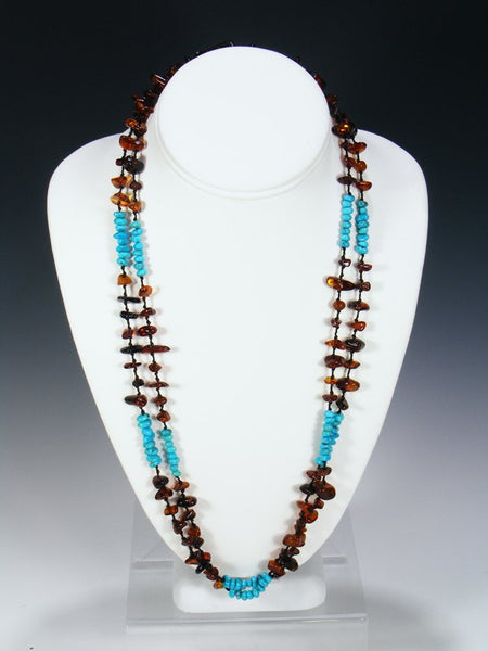 Native American Indian Jewelry 2 Strand Amber Necklace
