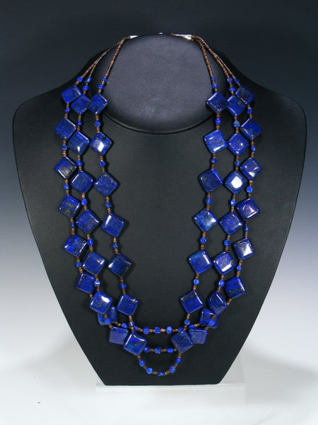 Native American Lapis Heishi Three Strand Necklace