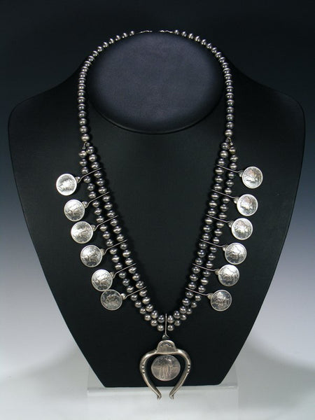 Native American Silver Liberty Dime Squash Blossom Necklace