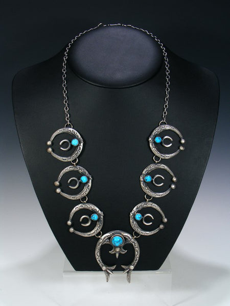 Native American Sandcast Turquoise Naja Necklace and Earrings Set