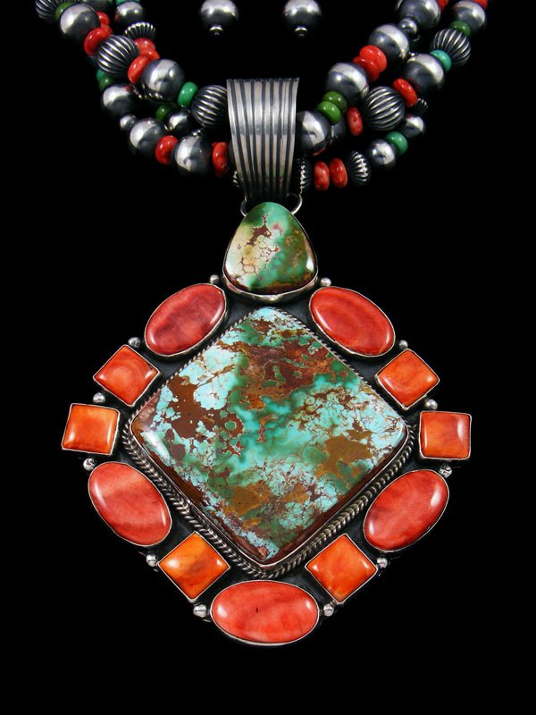 Native American Natural Royston Turquoise and Spiny Oyster Necklace Set