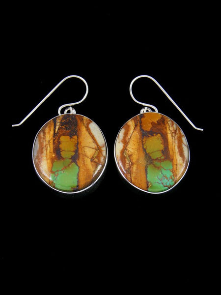 Native American Sterling Silver Royston Turquoise Dangle Earrings