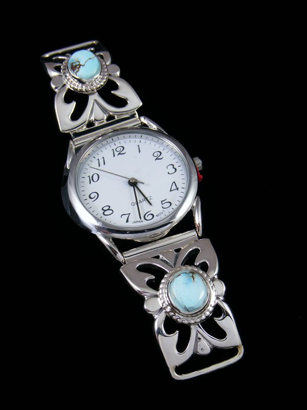 Native American Indian Golden Hill Turquoise Sterling Silver Ladies' Watch